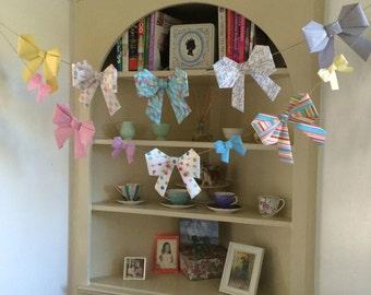 Paper Bow Garland, Bridal Shower Garland, Baby Shower Garland