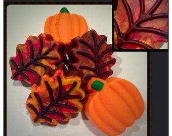 Fall Leaves and Pumpkins chocolate covered oreos - Fall Inspired Chocolates set of 12
