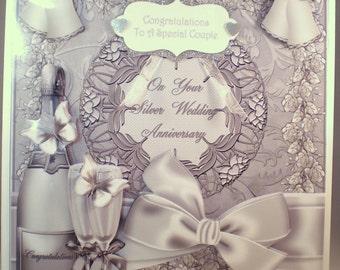 Handmade Silver Wedding Anniversary Decoupage, 3D Card,Personalise