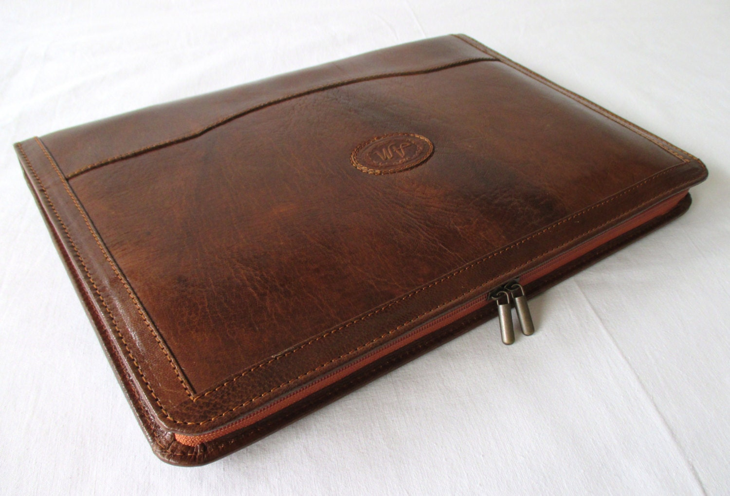 leather portfolio vegetable tanned cognac leather