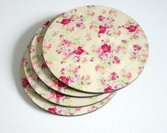 Shabby Cottage Coaster Set - Shabby Pink Floral Coasters - Pink Floral Coaster Set - Drink Coasters - Cottage Decor