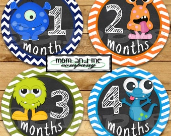 Monster Boy Baby  Monthly Stickers Baby Shower gift Chalk Chalkboard Infant Month stickers Baby Boy zigzag Bodysuit Stickers Milestone decal