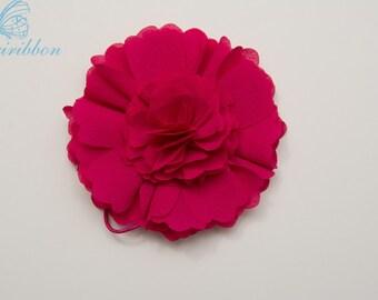 hot pink ponytail holder - chiffon flower alligator hair clip 115