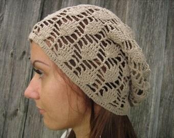 women summer cotton  hat Crocheted Summer Hat, brown hat, Hand Crocheted Hat Womens Hat slouchy hat sun hat, woman hat