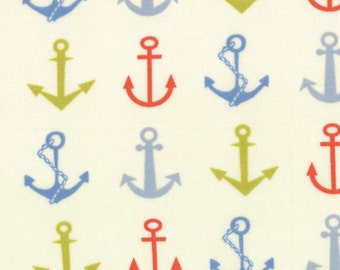 One Yard Bartholo-meow's Reef - Ahoy Anchors in Wave Cap White - Cotton Quilt Fabric - from Tim and Beck for Moda - 39531-11 (W1393)