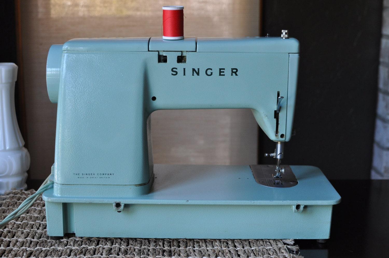 Vintage Singer Sewing Machine Mint Green Model 338 Working