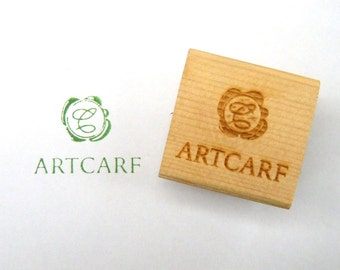 Custom Logo Rubber Stamp with Wood Mount Made to Order Personalized