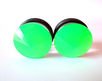 SALE - Neon Green Stud Plugs - Available in 00g, 7/16 in, 1/2 in, and 9/16 in.