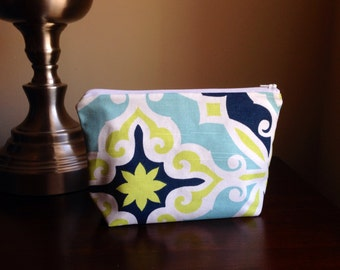 Makeup bag, cosmetic case, zipper pouch, clutch - multicolored navy lime green print
