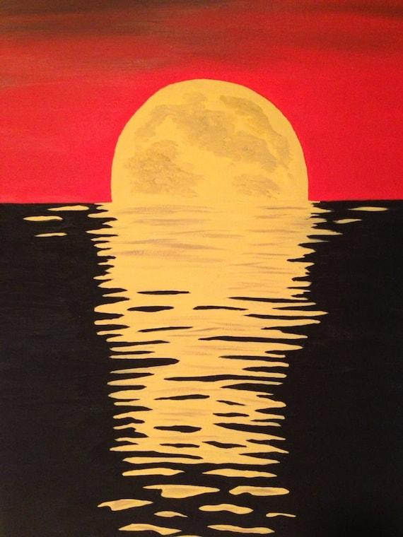 Moon Painting16x20 Black Paintingred Paintingyellow