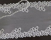 Vintage-inspired Elastic Lace Trim White Embroidery Hollowed Lace Fabric 6.69 Inch Wide 2 Yards
