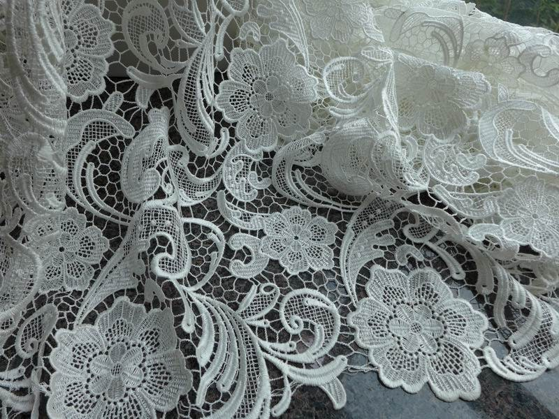 Graceful venice embroidered fabric in ivory for wedding lace