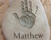 Child's handprint engraved in stone (100% hand made and completely custom) - Stone Prints River Rock