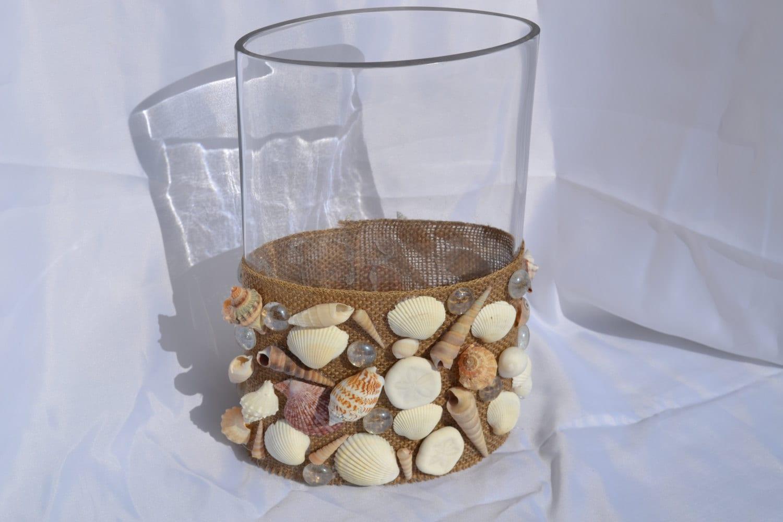 beach decor oak glass and seashell vase