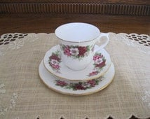Vintage Queen Anne Floral tea cup trio - Vintage Bone China - Vintage Queen Anne Bone China - Vintage Tea Cup Trio