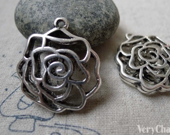 5 pcs of Antique Silver 3D Filigree Rose Flower Charms Pendants 25x26mm A6361