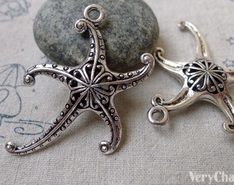 4 pcs of Antique Silver Filigree Starfish Pendants Charms 42x47mm A6736