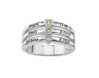 Personalized Mother's Ring with Stones & Engraving (MR91468ENG) ss
