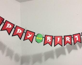 Ninjago Inspired Happy Birthday Banner- Party Decorations, Birthday