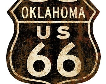 Route 66 Oklahoma Rusty Shield Floor Decal #48073