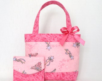 Mini Tote Bag & Purse / Girls Bag / Kids Bag / Wallet - Pink Sparkle Wand Tiara