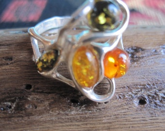 Sterling with Amber Ring Size 8.75