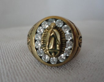 Gold Plated  Mexican Madonna of Guadalupe Ring.