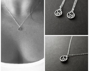 Set of 3 best friend necklaces, 3 bff, little charm, Yin yang, Ying yang