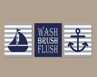 Kids Nautical Bathroom Art Wash Brush Flush Bathroom Art Navy Gray Bathroom Bathroom