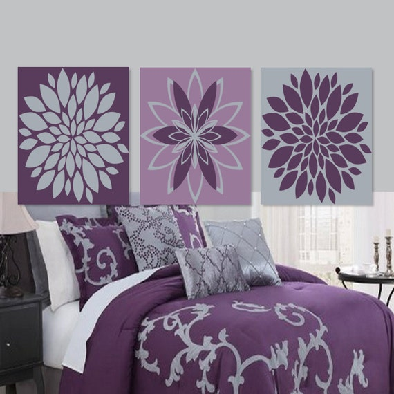 Wall art dahlia daisy flower purple gray grey by for Floral bedroom decor