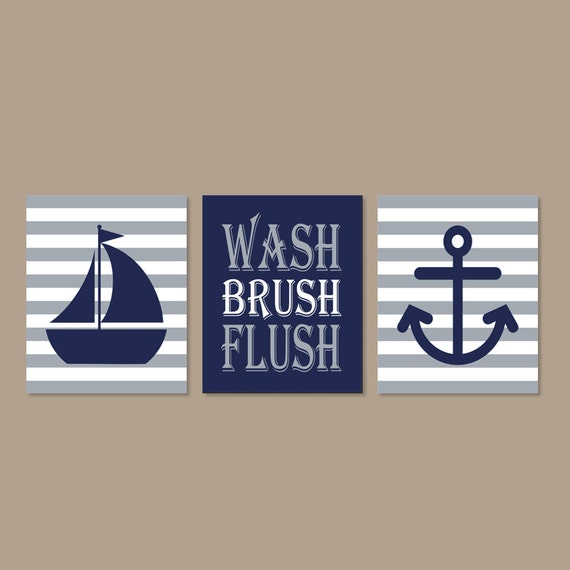 Kids nautical bathroom art prints or canvas wall art wash for Bathroom decor etsy