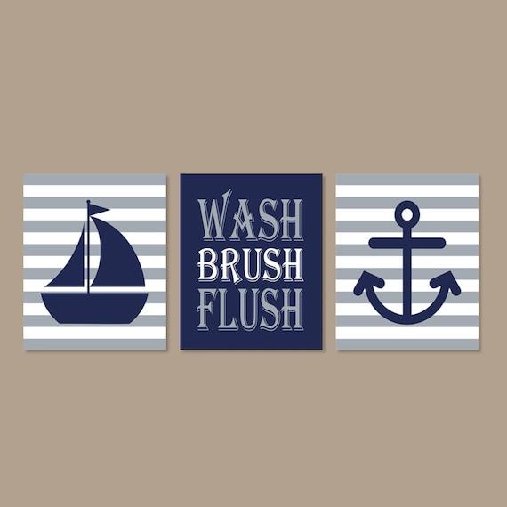 Bathroom Decor Etsy Of Kids Nautical Bathroom Art Prints Or Canvas Wall Art Wash
