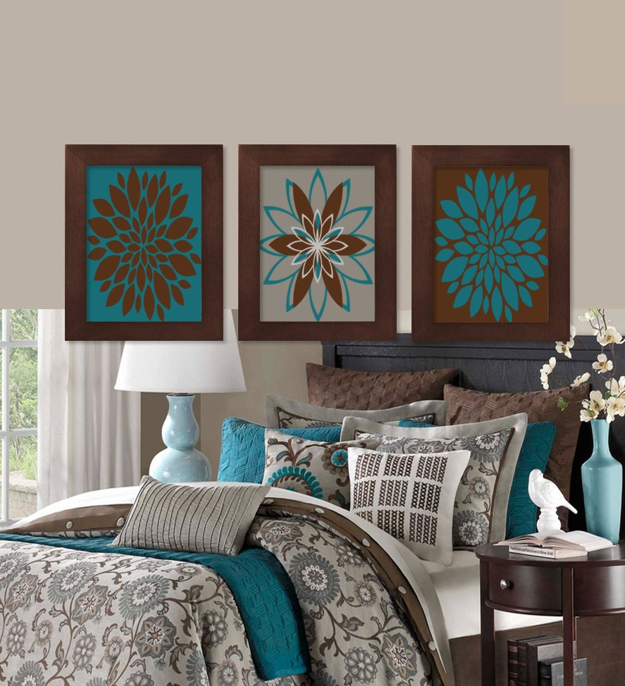 Wall art teal brown dahlia flower bloom by lovelyfacedesigns for Teal and brown bathroom decor