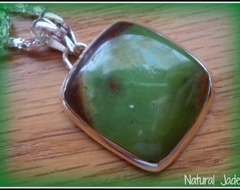Natural Jade 925 Sterling Silver Necklace