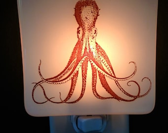 Octopus Night Light Fused Glass