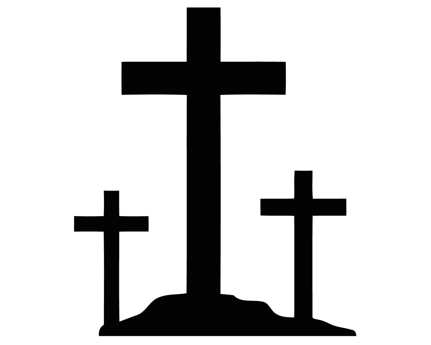 Three crosses decal 3 crucifix crosses sticker christian 3 for Cross clipart