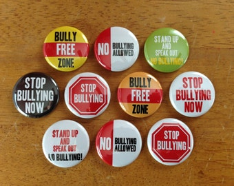 No Bullying Buttons Pinback Button Set of 10 No Bully Buttons Set 3, Bully, Anti-Bully, Geekery, No Bully Allowed