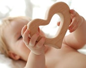 Eco friendly Wooden baby teether HEART ecological natural toy