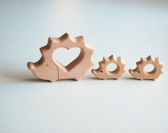 Eco friendly Wooden baby teether  ecological natural toy Hedgehog