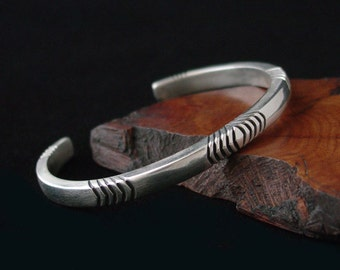 3 Gauge Cuff Bracelet Hand Forged in Heavy Sterling Silver ... Made to Order