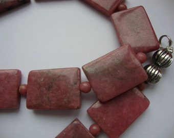 Vintage Dark Pink Phodonite Square Form Beads Elegant Women Handmade Necklace