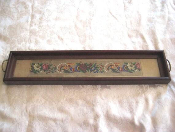 Long Thin Tray Hanging Needlepoint Tray Floral Thin Tray
