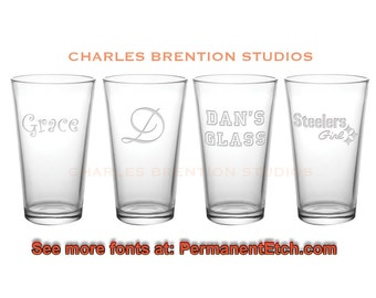SET of 4 - 16oz. Libbey Custom Pint Glasses with personalization