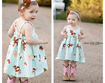 Baby Hummingbird Dress - girls' summer dress - NB to size 3 - PDF pattern