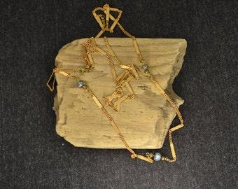 Tiny Lab labradorite and brass necklace