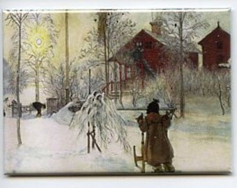 Swedish artist,  Carl Larsson Magnet #REM130 The Yard and Wash house