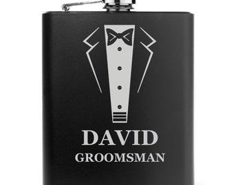 Engraved 7oz Stainless Steel Hip Flask Matte Black Personalized Custom Wedding Tuxedo
