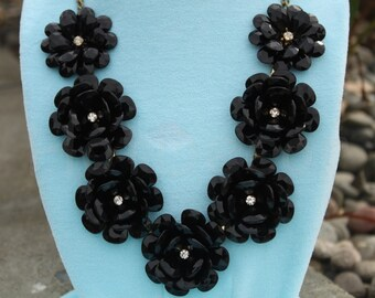 Statement Necklace Necklace gift black Wedding necklace bib Necklace black Flower necklace Rose necklace for women Rosette necklace