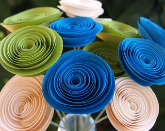 Ocean Blue, Lime Green and Cream Paper Flowers