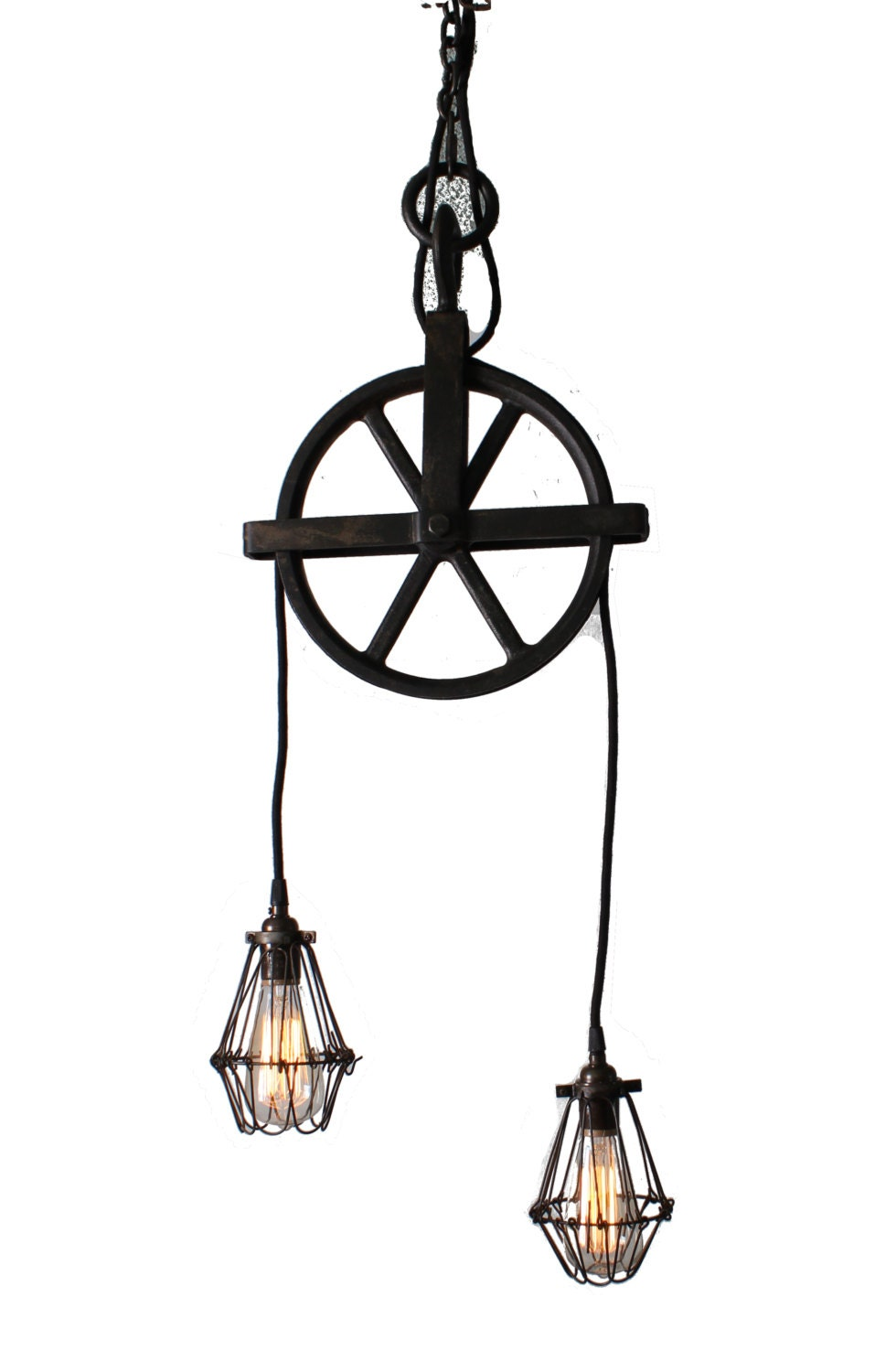 well pulley chandelier with cage pendants in black by parisenvy. Black Bedroom Furniture Sets. Home Design Ideas